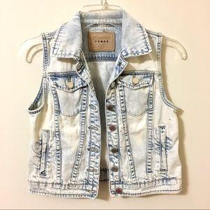 Blank NYC Denim Jean Vest Distressed Large